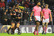 Sam Hidalgo-Clyne congratulates Hamish Watson for scoring try during the European Rugby Challenge Cup match between Edinburgh Rugby and Stade Francais at Murrayfield Stadium, Edinburgh, Scotland on 12 January 2018. Photo by Kevin Murray.
