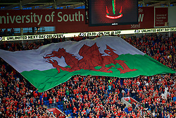 CARDIFF, WALES - Thursday, September 6, 2018: A huge red dragon Wales flag during the UEFA Nations League Group Stage League B Group 4 match between Wales and Republic of Ireland at the Cardiff City Stadium. (Pic by Laura Malkin/Propaganda)
