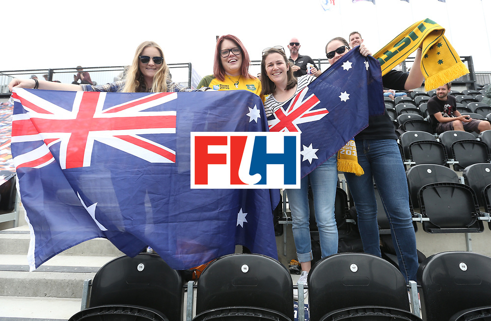 LONDON, ENGLAND - JUNE 19: Australia fans during the FIH Women's Hockey Champions Trophy match between Australia and New Zealand at Queen Elizabeth Olympic Park on June 19, 2016 in London, England.  (Photo by Alex Morton/Getty Images)