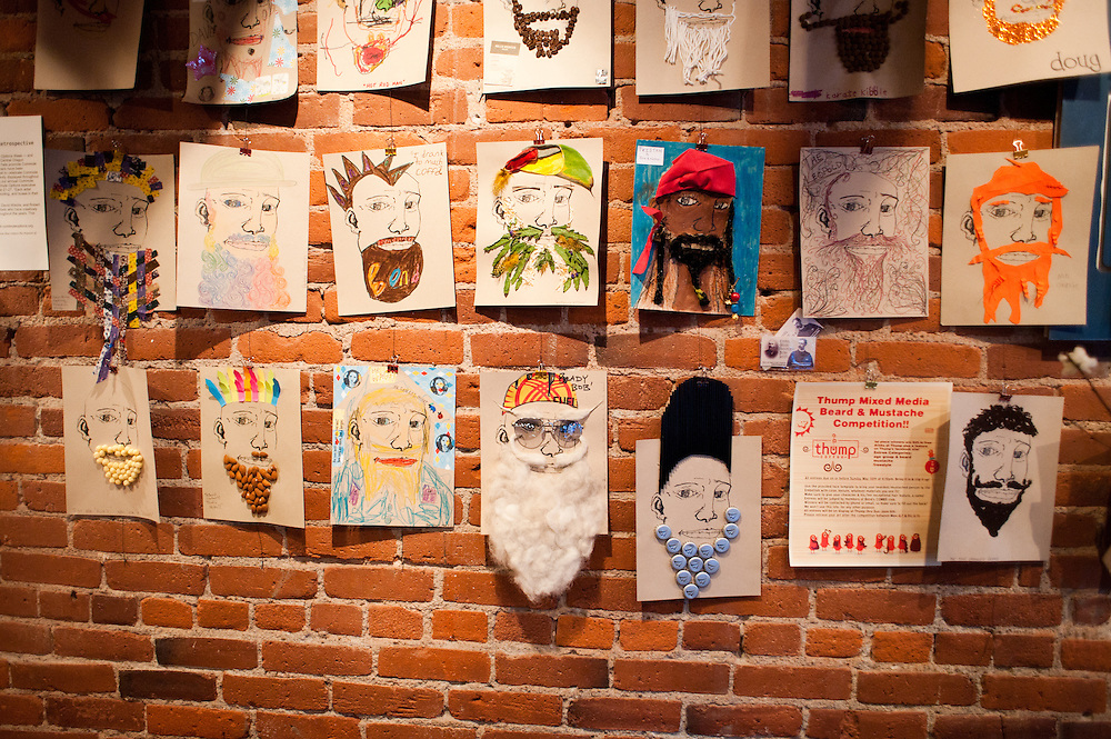 A wall inside Thump, a coffee shop, on Friday, June 4 during the 2010 Beard Team USA National Beard and Mustache Championships in Bend, Oregon.
