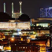 "Kansas City's Crossroads District area with buildings lit Royal Blue for Kansas City Royals 2014 World Series run. Kauffman Center, Convention Center ""Skystation"" pylons, Downtown Marriott Hotel."