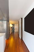 Interior of apartment, long corridor, parquet floor