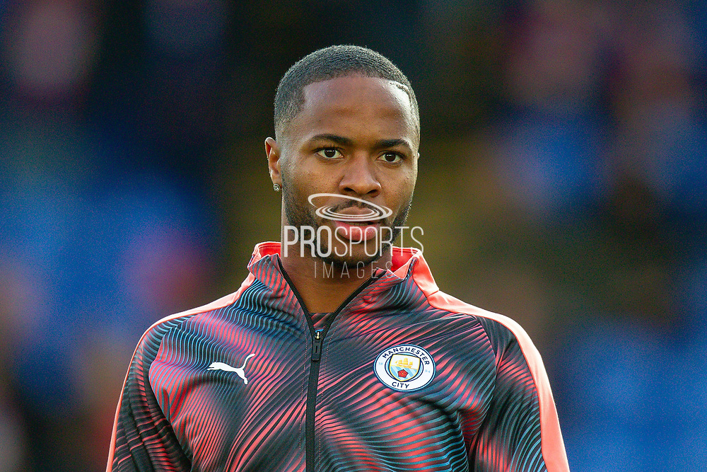 Manchester City midfielder Raheem Sterling (7) warming up before the Premier League match between Crystal Palace and Manchester City at Selhurst Park, London, England on 19 October 2019.