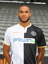 14.07.2015, Scholz Arena, Aalen, GER, 2. FBL, VfR Aalen, Fototermin, im Bild Dwayn Holter ( VfR Aalen ) // during the official Team and Portrait Photoshoot of German 2nd Bundesliga Club VfR Aalen at the Scholz Arena in Aalen, Germany on 2015/07/14. EXPA Pictures © 2015, PhotoCredit: EXPA/ Eibner-Pressefoto/ Langer<br /> <br /> *****ATTENTION - OUT of GER*****