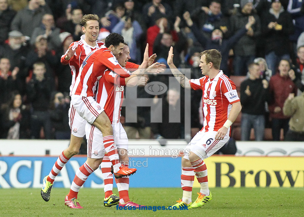 Picture by Michael Sedgwick/Focus Images Ltd +44 7900 363072<br /> 21/12/2013<br /> Charlie Adam of Stoke City celebrates scoring the first goal against Aston Villa during the Barclays Premier League match at the Britannia Stadium, Stoke-on-Trent.