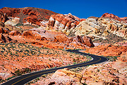 The park road winding through colorful sandstone, Valley of Fire State Park, Nevada USA