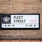 Signs marking Fleet Street in London, the traditional location of the UK's newspapers and media industry.