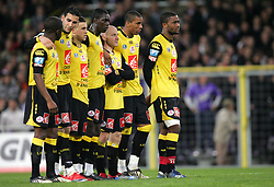 Lille players wait in line for the penalty shoot out during the 1/4 Final of la Coupe de France, Stade Municipal, Toulouse, France, 18th March 2009.