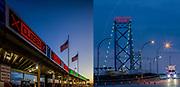Ambassador Bridge between Windsor and Detroit. The Canada/ United States Border.
