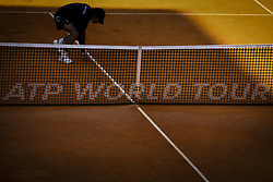 May 3, 2018 - Estoril, Portugal - A volunteer catchs the ball during the game of Kevin Anderson from South Africa vs Stefanos Tsitsipas from Greece during the Millennium Estoril Open tennis tournament in Estoril, outskirts of Lisbon, Portugal on May 1, 2018  (Credit Image: © Carlos Costa/NurPhoto via ZUMA Press)