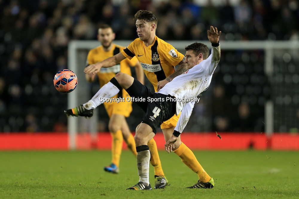 3rd January 2015 - FA Cup - 3rd Round - Derby County v Southport - Craig Bryson of Derby battles with Charlie Joyce of Southport - Photo: Simon Stacpoole / Offside.