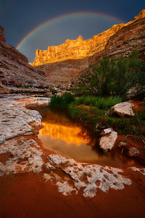 While on a multi-day river trip down the lower canyon of the San Juan River in Utah we had stopped to camp at the mouth of Slickhorn Canyon. Shortly before sunset I had set out on my own to explore Slickhorn in search of a reflecting pool. A gentle breeze moved through the canyon as I hiked along the streambed. There was a gentle rain falling as the sun broke out under the clouds and begin to illuminate the canyon walls towering above me. As this happened, a rainbow began to appear above the golden cliffs radiating warm light of sunset juxtaposed against the cold dark skies of the clearing storm. There I stood, alone, in the middle of a red rock wilderness, overwhelmed the by the sheer scale and beauty of the landscape I was immersed in. To this day it remains one of the single greatest moments I've experienced in nature.