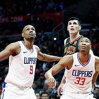 08 January 2018: Atlanta Hawks forward Ersan Ilyasova (7) vies for the rebound with LA Clippers guard C.J. Williams (9) and LA Clippers forward Wesley Johnson (33) during the LA Clippers 108-107 victory over the Atlanta Hawks, at the Staples Center, Los Angeles, California, USA.