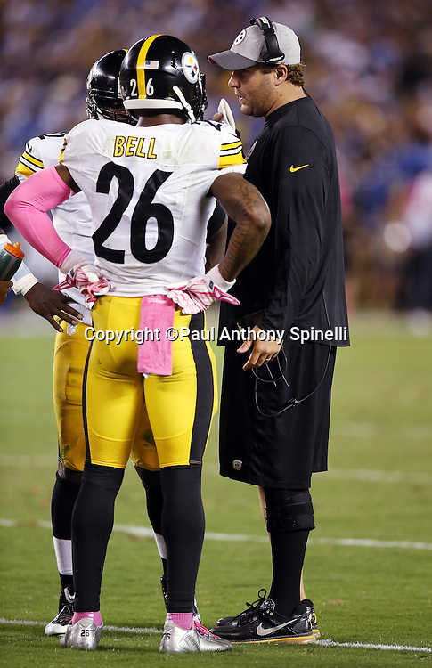 Pittsburgh Steelers running back Le'Veon Bell (26) talks on the sideline to Pittsburgh Steelers quarterback Mike Vick (2) and Pittsburgh Steelers quarterback Ben Roethlisberger (7) during the 2015 NFL week 5 regular season football game against the San Diego Chargers on Monday, Oct. 12, 2015 in San Diego. The Steelers won the game 24-20. (©Paul Anthony Spinelli)