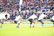 English players look on while Fiji perform the Cibi during the Autumn International Series match between England and Fiji at Twickenham, Richmond, United Kingdom on 19 November 2016. Photo by Ian  Muir.