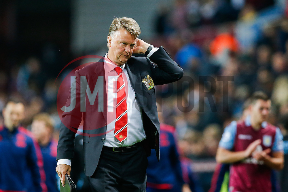Manchester United Manager Louis van Gaal looks less than happy even after Manchester United win the game 0-1 - Mandatory byline: Rogan Thomson/JMP - 07966 386802 - 14/08/2015 - FOOTBALL - Villa Park Stadium - Birmingham, England - Aston Villa v Manchester United - Barclays Premier League.