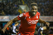 GOAL 1-2 Nottingham Forest forward Sammy Ameobi (19) celebrates after providing the assist for Nottingham Forest forward Lewis Grabban (7) (not in picture) during the EFL Sky Bet Championship match between Millwall and Nottingham Forest at The Den, London, England on 6 December 2019.