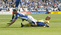 Photo: Steve Bond/Richard Lane Photography. Leicester City v Watford. Coca Cola Championship. 17/04/2010. Richie Wellens (L) is fouled by Jay DeMerit and the penalty is given