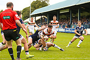 Bradford Bulls second row James Bentley (20) scores a try to make the score 6-4 during the Kingstone Press Championship match between Swinton Lions and Bradford Bulls at the Willows, Salford, United Kingdom on 20 August 2017. Photo by Simon Davies.