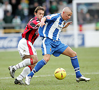 Photo: Paul Thomas. Chester City v Yeovil Town. Deva Stadium, Chester. Coca Cola League Two. 19/02/2005. Chesters Robbie Foy fights off Andy Lindegaard.