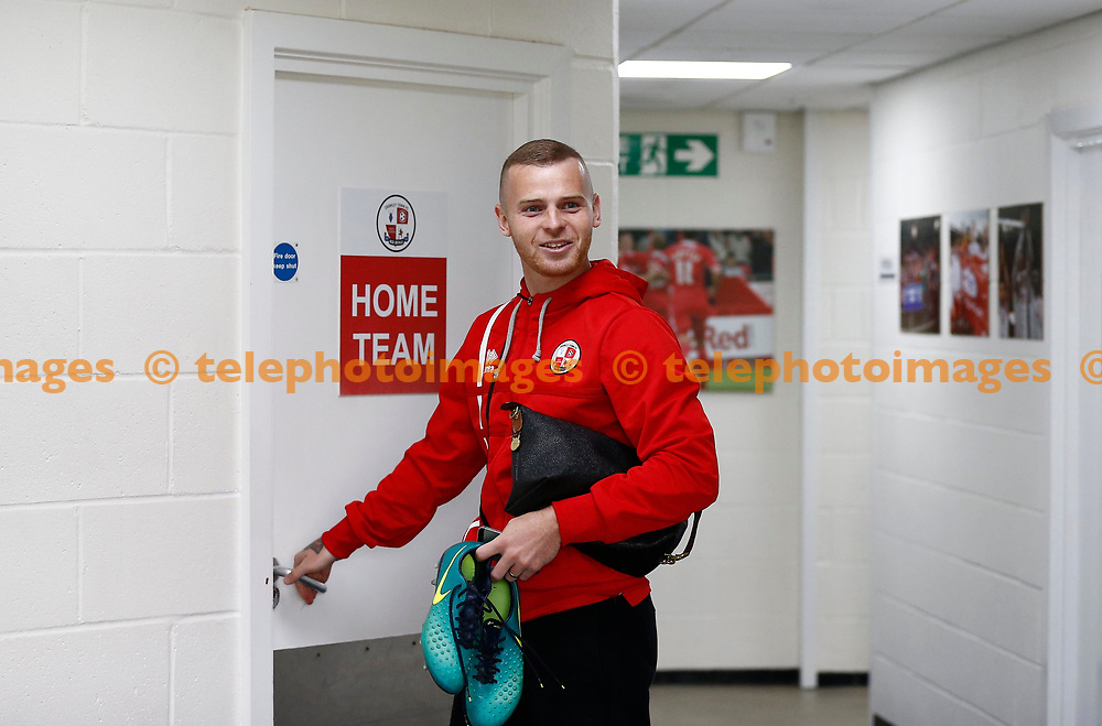 Mark Connolly of Crawley arrives for the the pre season Friendly between Crawley Town and Portsmouth at the Checkatrade Stadium in Crawley. 29 Jul 2017