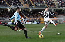ITALY, Lecce :Iaquinta J Rosati L during the Serie A match between Lecce and Juventus at Stadio Via del Mare in Lecce on February 20, 2011. .AFP PHOTO / GIOVANNI MARINO