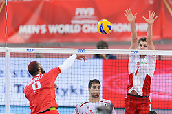14.09.2014, Luczniczka Hall, Bydgoszcz, POL, FIVB WM, Polen vs Frankreich, 2. Runde, Gruppe E, im Bild Earvin Ngapeth, Karol Klos // during the FIVB Volleyball Men's World Championships 2nd Round Pool F Match beween Poland and France at the Luczniczka Hall in Bydgoszcz, Poland on 2014/09/14. EXPA Pictures © 2014, PhotoCredit: EXPA/ Newspix/ Mariusz Palczynski<br /> <br /> *****ATTENTION - for AUT, SLO, CRO, SRB, BIH, MAZ, TUR, SUI, SWE only*****