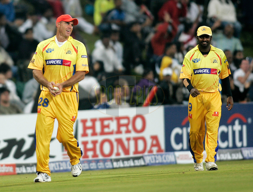 CENTURION, SOUTH AFRICA - 30 April 2009.  during the  IPL Season 2 match between the Rajasthan Royals and the Chennai Superkings held at  in Centurion, South Africa..Chennai Super Kings player Matthew Hayden celebrates