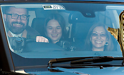 © Licensed to London News Pictures. 04/03/2016. London, UK.  Grace (centre), Daughter of Rupert Murdoch lave the home of Rupert Murdoch ahead of rupert Murdoch's wedding to Jerry Hall at Spencer House on February 04, 2016. The couple, who announced their engagement in January, had a private ceremony today, with a public service expected at Fleet Street's St Bride's Church on Saturday. Photo credit: Ben Cawthra/LNP