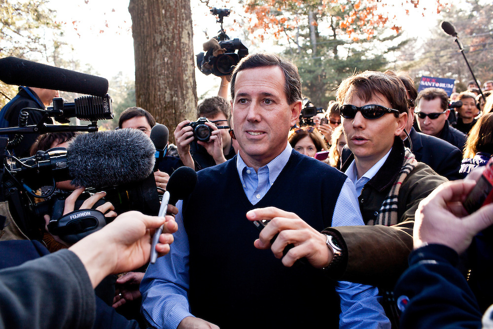 Republican presidential candidate Rick Santorum makes his way to a television interview after a meet and greet at Homestead Grocery and Deli on Saturday, January 7, 2012 in Amherst, NH. Brendan Hoffman for the New York Times