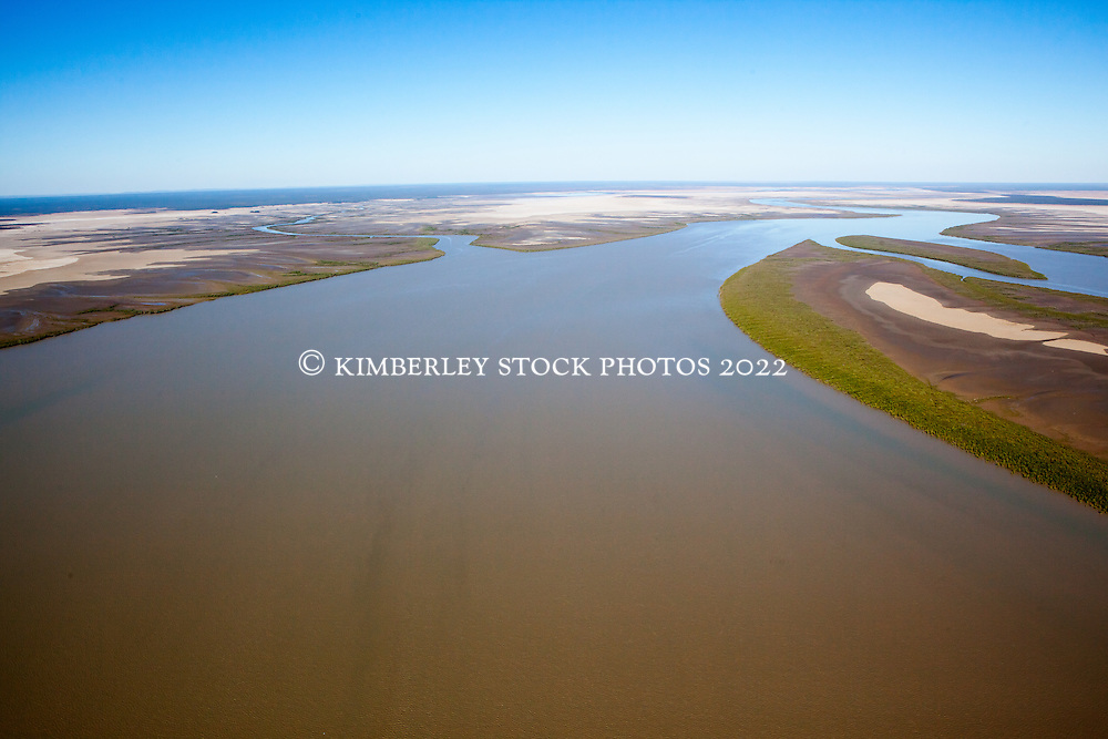 Aerial view looking south down the Robinson River, east of Derby.  The Robinson River is east of Point Torment, a proposed development site for a port for the export of uranium, oil, gas and coal.