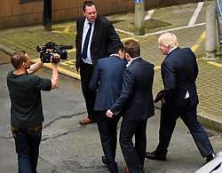 © Licensed to London News Pictures. 24/06/2016. London, UK. BORIS JOHNSON (far right) leaves a VOTE LEAVE event in Westminster, London on the day that the UK voted to leave the EU in a referendum. Photo credit: Ben Cawthra/LNP