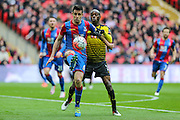 Crystal Palace's Scott Dann shields the ball from Watford's Allan-Roméo Nyom during the The FA Cup match between Crystal Palace and Watford at Wembley Stadium, London, England on 24 April 2016. Photo by Shane Healey.