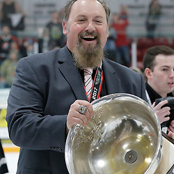 TRENTON, ON  - MAY 6,  2017: Canadian Junior Hockey League, Central Canadian Jr. &quot;A&quot; Championship. The Dudley Hewitt Cup Championship Game between The Trenton Golden Hawks and The Georgetown Raiders. Assistant Coach Kyle Smart during post game celebrations. <br /> (Photo by Amy Deroche / OJHL Images)