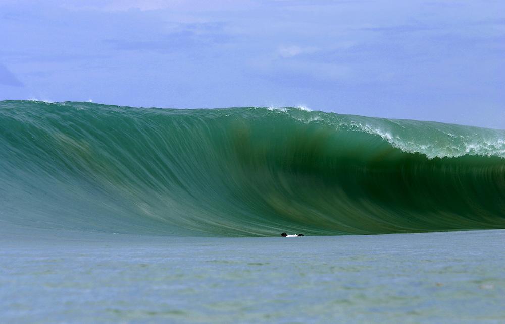 Gigantic wave breaking at Lagundri Bay, Nias Island, Indonesia
