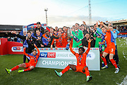 Luton celebrate winning the EFL Sky Bet League 1 match between Luton Town and Oxford United at Kenilworth Road, Luton, England on 4 May 2019.
