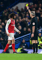 Mohamed Elneny of Arsenal is shown a yellow card. - Mandatory by-line: Alex James/JMP - 10/01/2018 - FOOTBALL - Stamford Bridge - London, England - Chelsea v Arsenal - Carabao Cup semi-final first leg
