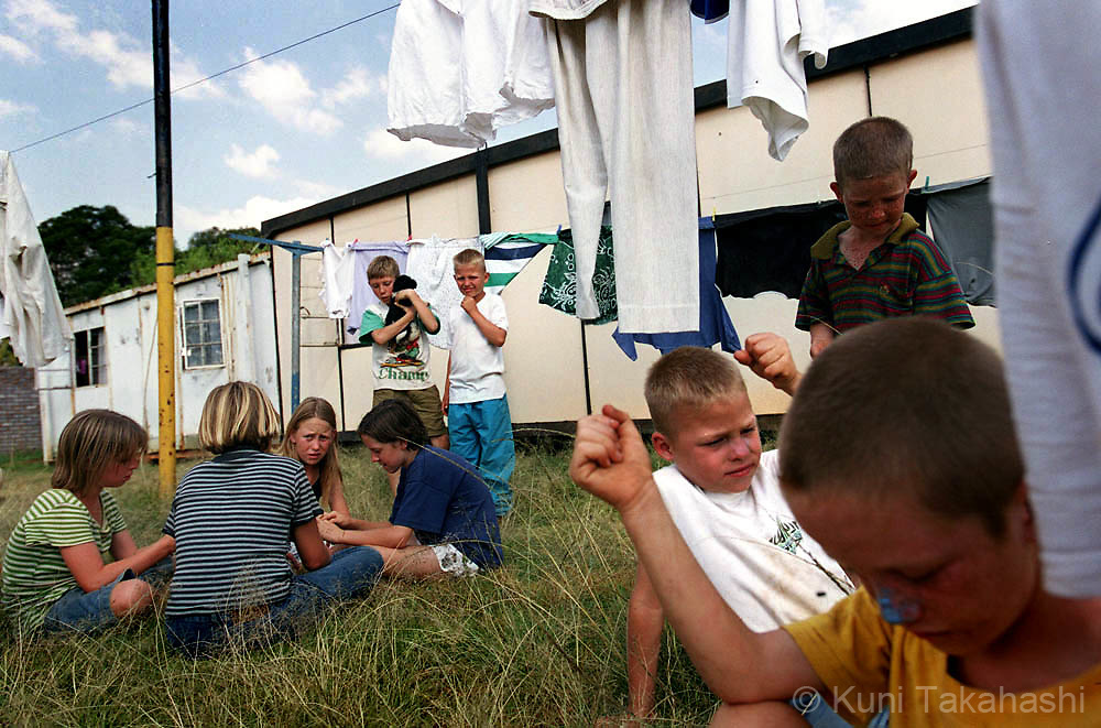 White homeless family at shelter near Johannesburg, South Africa on April 2002.