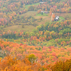 Forest and farms as seen from the summit of Burke Mountain in East Burke, Vermont.  Fall.