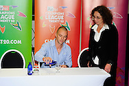 Davey Jacobs and Leigh Deysel during the Warriors press conference held at The Radisson Blu  hotel in Port Elizabeth on the 7th September 2010 held as part of the build up to the Champions League T20 tournament being held in South Africa between the 10th and 26th September 2010..Photo by: Deryck Foster/SPORTZPICS/CLT20