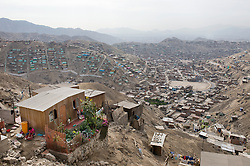 A shantytown in Valle de Amauta in Ate, a district in Lima, Peru.