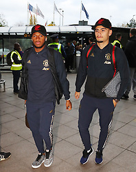 Andreas Pereira and Fred of Manchester United are spotted on their way to catch a flight as the team fly to Turin on Tuesday afternoon to play Juventus in The Champions League on Wednesday night.
