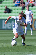 MELBOURNE, VIC - MARCH 06: Annalie Longo (10) of New Zealand keeps eyes focused on the ball during The Cup of Nations womens soccer match between New Zealand and Korea Republic on March 06, 2019 at AAMI Park, VIC. (Photo by Speed Media/Icon Sportswire)