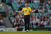 Aaron Thomason of Birmingham Bears celebrates the wicket of Aaron Finch during the NatWest T20 Blast South Group match between Surrey County Cricket Club and Warwickshire County Cricket Club at the Kia Oval, Kennington, United Kingdom on 25 August 2017. Photo by Dave Vokes.