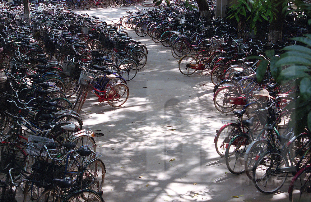 Parking lot full of hundreds bicycles. Vietnam, Asia.