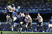 Action in the Manchester United box from the Everton corner during the Premier League match between Everton and Manchester United at Goodison Park, Liverpool, England on 21 April 2019.