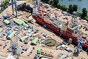 Nederland, Zuid-Holland, Rotterdam, 10-06-2015;  Schiedam, Wiltonhaven, droogdok van Damen Shiprepair.<br /> Wilton harbour, drydock.<br /> luchtfoto (toeslag op standard tarieven);<br /> aerial photo (additional fee required);<br /> copyright foto/photo Siebe Swart