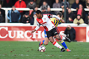 Woking midfielder Anthony Edgar (19) turns with the ball in midfield during the The FA Cup match between Woking and Accrington Stanley at the Kingfield Stadium, Woking, United Kingdom on 4 December 2016. Photo by David Charbit.