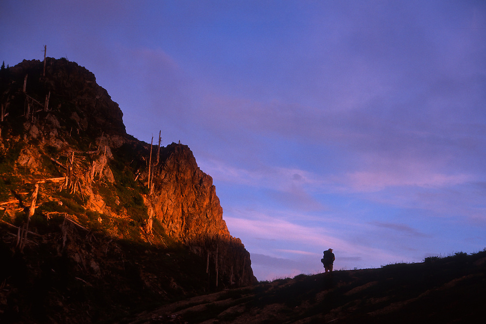 Hiker at Dusk in the Mt. Margaret Backcountry, Mt. St. Helens National Volcanic Monument, Washington, US