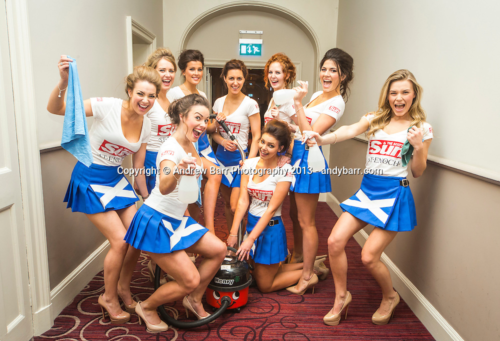 02:05:2013..Miss Scotland 2013 - chambermaid challenge at Grand Central Hotel...The girls celebrate finishing service of the rooms...Pic:Andy Barr..07974 923919  (mobile).andy_snap@mac.com..All pictures copyright Andrew Barr Photography. ..Please contact before any syndication. .